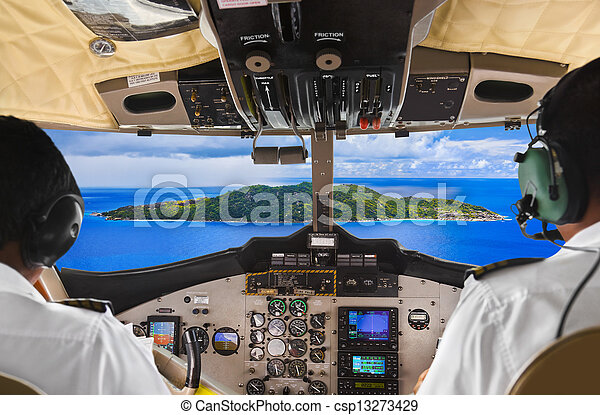 Pilots in the plane cockpit and island - csp13273429