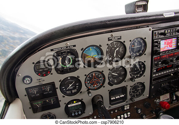 Pilot's View of Complex Instrument Panel of Small Airplane - csp7906210