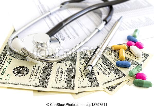 pilules, stéthoscope, monde médical, argent, assurance - csp13797511