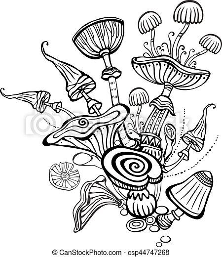 Pilze, farbton- buch, seite, erwachsener Clipart Vektor - Suchen Sie ...