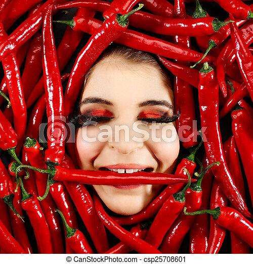 pimentão, mulher, pimenta, vermelho - csp25708601