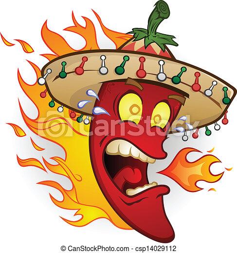pimenta, personagem, pimentão quente, caricatura - csp14029112