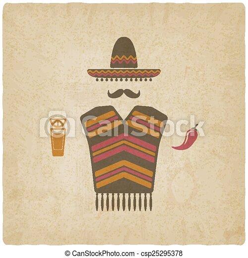 Un mexicano con tequila y chile - csp25295378