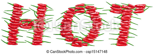 Pimientos picantes rojos con letra caliente - csp15147148