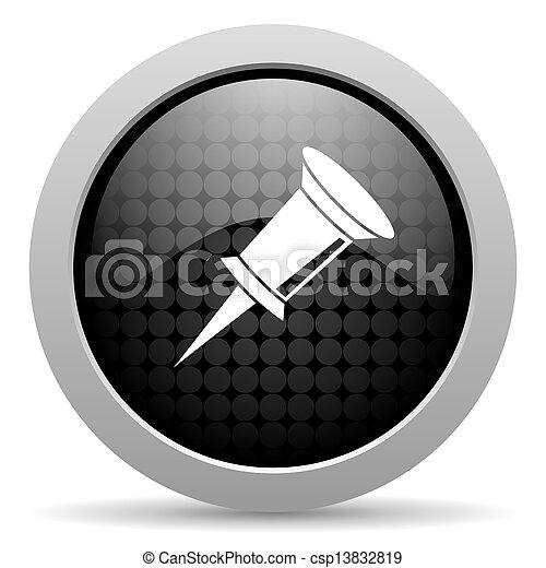pin black circle web glossy icon - csp13832819