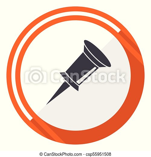 Pin flat design vector web icon. Round orange internet button isolated on white background. - csp55951508