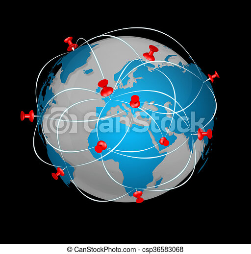 Pin map icon on a blue world map pin map marker pointer stock pin map icon on a blue world map csp36583068 gumiabroncs Images