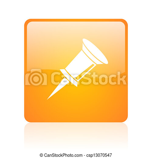 pin orange square glossy web icon - csp13070547