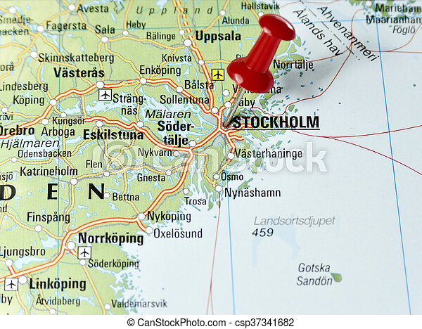 Map of sweden with pin set on stockholm pictures Search