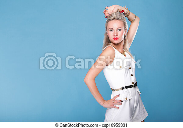 pin up girl retro style portrait blue background - csp10953331