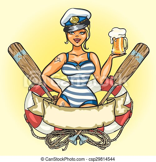 Pin Up Sailor Girl with cold beer - csp29814544