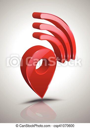 Pin wifi icon 3D style. - csp41070600