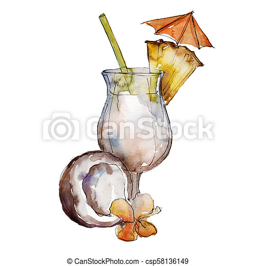 Pina Colada Bar Party Cocktail Drink Nightclub Isolated Icon Sketch Drawing Aquarelle Cocktail Drink Illustration For Canstock
