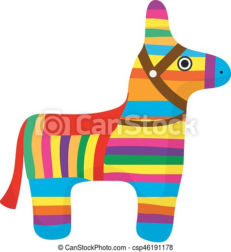 pinata icon flat style donkey colorful isolated on white rh canstockphoto com pinata clipart black and white pinata clipart black and white