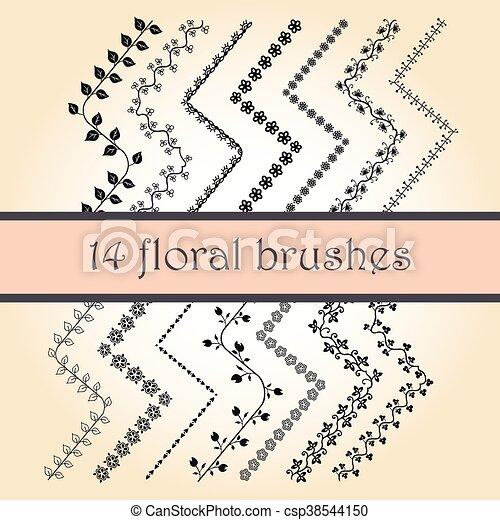 pinceaux, vecteur, décoratif, gribouiller - csp38544150