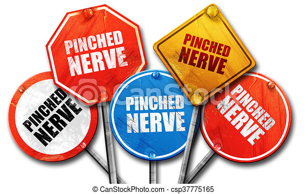 pinched nerve, 3D rendering, rough street sign collection - csp37775165