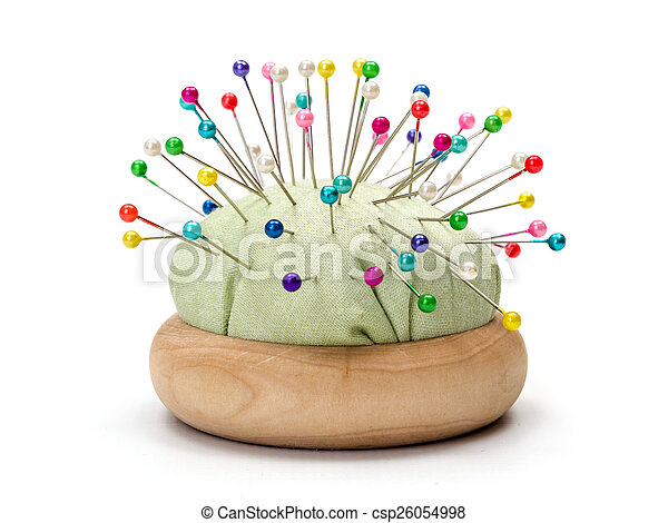 Pincushion full with colorful pins - csp26054998