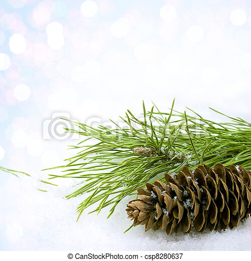 Pine cone in the snow - csp8280637