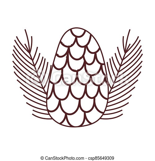 pine cone leaves foliage nature isolated icon design line style - csp85649309