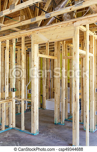 Pine Studs in New Home Construction - csp49344688