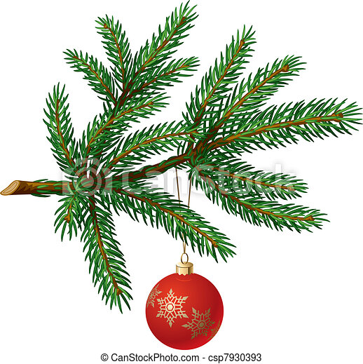 Pine tree branch with Christmas ball - csp7930393