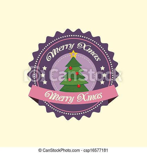 Pine tree christmas label - csp16577181