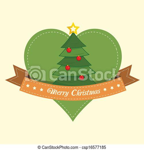 Pine tree christmas label - csp16577185