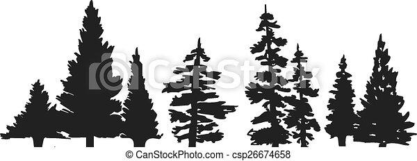 Pine tree silhouette - csp26674658