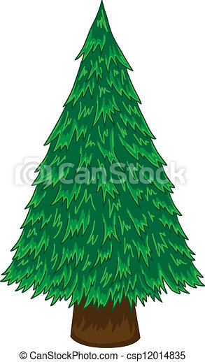 Pine Tree Vector Cartoon On White Background