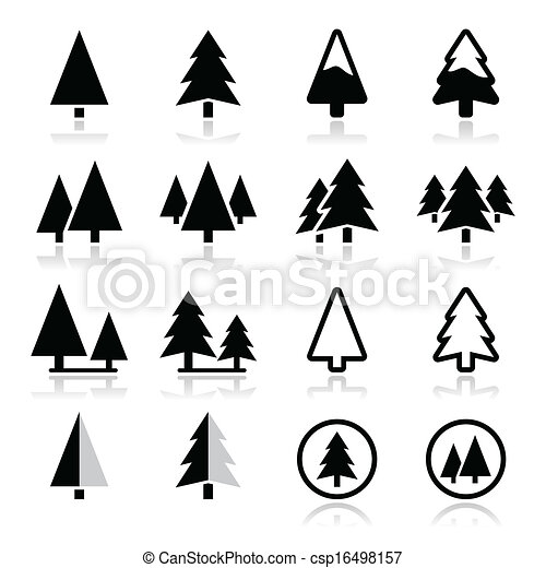 pine tree vector icons set pine trees forest or park icons rh canstockphoto com pine trees vector silhouette vector art of pine trees