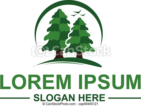 Pine trees logo. 2 pine tress with birds and an outline of ...