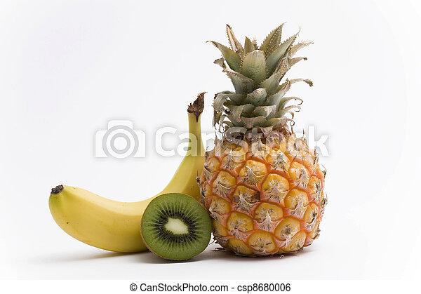 pineapple, banana and kiwi fruit - csp8680006