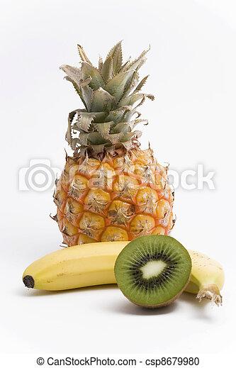pineapple, banana and kiwi fruit - csp8679980