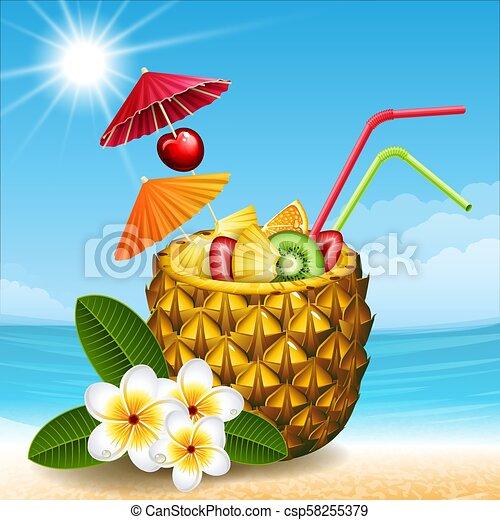 pineapple cocktail - csp58255379