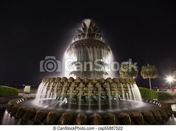 pineapple fountain Charleston south carolina - csp55887522