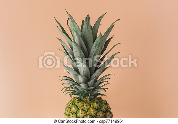Pineapple fresh fruit on colorful background. Creative bright minimal, styled concept for bloggers. - csp77149961
