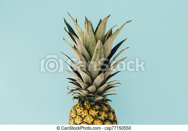 Pineapple fresh fruit on colorful background - csp77150550