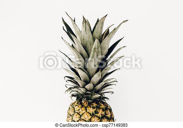 Pineapple fresh fruit on white background - csp77149383