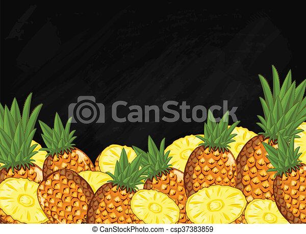 Pineapple Fruit Composition On Chalkboard Raster Pineapple