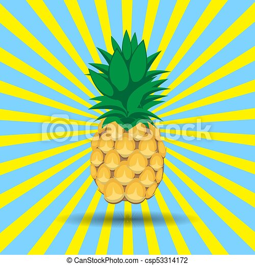 pineapple fruit contour abstract image csp53314172