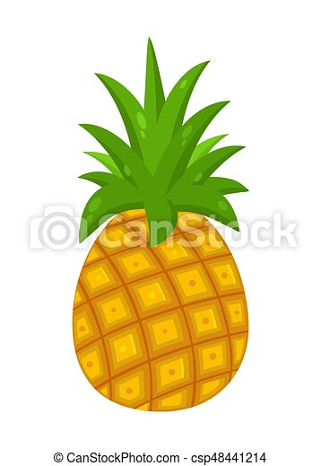 Pineapple Fruit With Green Leafs Drawing Flat Simple