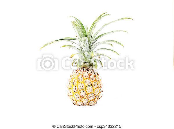 Pineapple fruits Isolated on white backgrounds - csp34032215