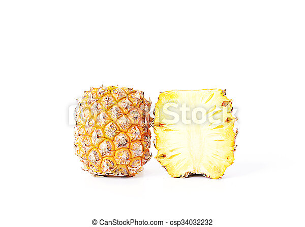 Pineapple fruits Isolated on white background - csp34032232