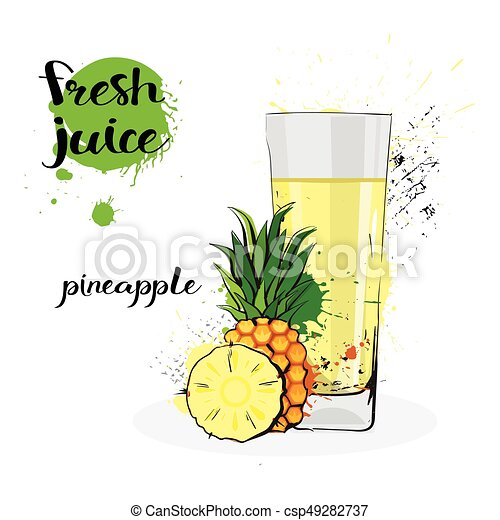 Pineapple juice fresh hand drawn watercolor fruits and ...