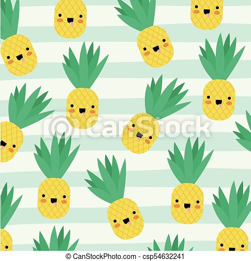 Pineapple Kawaii Fruits Pattern Set On Decorative Lines Color Background