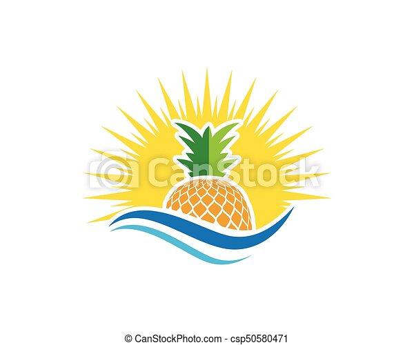pineapple logo template vector icon illustration design