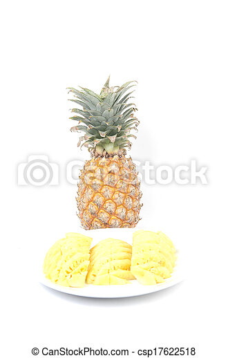 Pineapple on white background - csp17622518