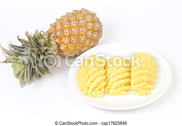 Pineapple on white background - csp17623846