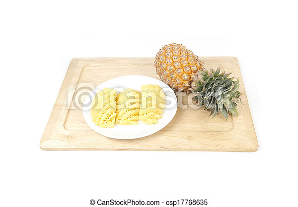 Pineapple on white background - csp17768635