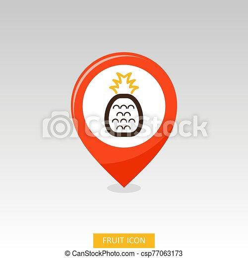 Pineapple pin map icon. Pineapple fruit sign - csp77063173